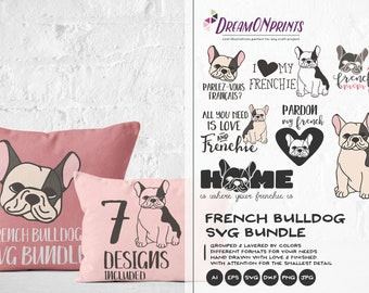 Frenchie SVG Bundle, French Bulldog SVG Cut Files, Pets Bundle Svg, Dogs SVG, Dxf, Svg Files for Cricut, Silhouette Cutting Machines