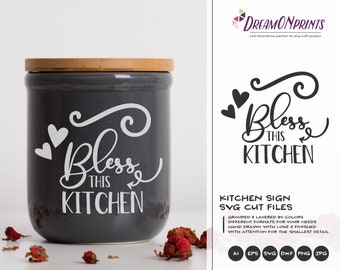 Bless this Kitchen Svg Kitchen SVG Cut File, Apron Svg Designs, Kitchen SVG Cutting File, Cooking svg Cricut Explore DOP346