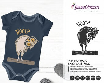 Owl SVG, Hoot Owl Cut File Svg Cut File, Birds Svg, DXF Files for Cricut, Silhouette Cutting Machines DOP326