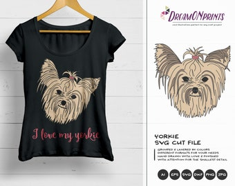 Yorkie SVG Yorkshire Terrier, Pet SVG, Yorkie Svg Cut File, Animals, Dogs DXF Files for Cricut, Silhouette Cutting Machines DOP061