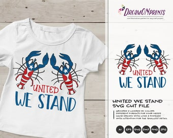 United We Stand| Patriotic Lobsters SVG