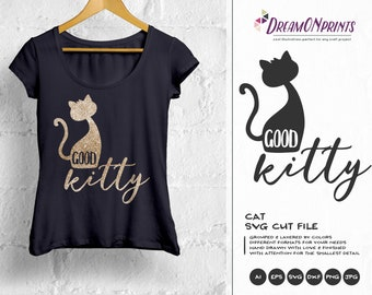 Cat SVG Kitty Svg Black Cat Svg, Kitten Cat Svg, Pets SVG, Shirt Design, Glass SVG  Files for Cricut, Silhouette Cutting Machines DOP113