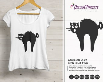 Cat SVG Black Cat Svg, Fun Cat Svg, Arched Cat Svg, Pets SVG, Shirt Design, Glass SVG  Files for Cricut, Silhouette Cutting Machines DOP104