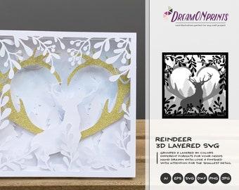 Reindeer 3D Layered Design | Christmas Multi Layer Design | Laser Cut Files