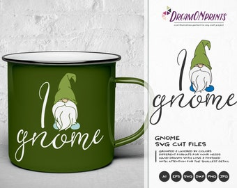 Gnome SVG Fun Gnome Illustration, Garden Gnome Svg Gnomes SVG Elf, Dxf, Svg for Cricut, Silhouette Cutting Machines DOP043