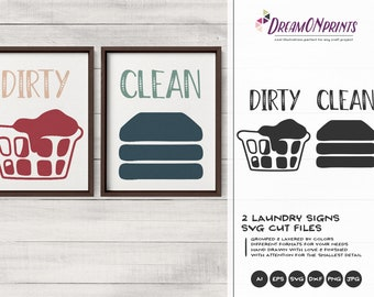 Dirty and Clean Laundry Signs Set of 2 SVG | Sign Making SVG