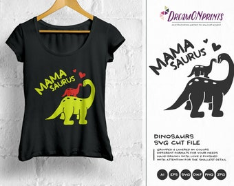 Mamasaurus SVG Dinosaur Svg, T Rex Svg, Mama Svg, family SVG Svg Files for Cricut, Silhouette, Laser Engravement DOP092
