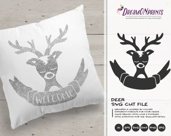 Deer SVG Cut File | Reindeer SVG | Cute Holiday SVG