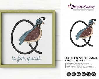 Bird Monogram Letter Q SVG Cut File | Letter Q with Quail