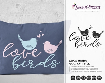 Love Birds SVG, Valentine's Day svg file, Birds SVG, Valentine Svg, Love SVG, Dxf, Eps, Svg for Silhouette, Svg for Cricut DOP005