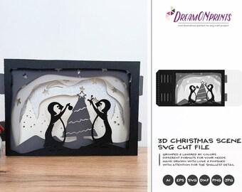 Christmas 3D Layered Design | 3D Christmas Scenery | Paper Cut Design