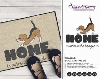 Beagle SVG Dog Breeds, Home SVG Welcome, Pets Svg Cut File Animals, Dogs DXF File for Cricut, Silhouette Cutting Machines DOP384