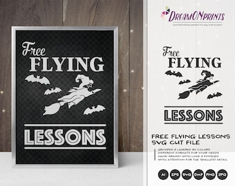 Free Flying Lessons SVG Witch | Fun Halloween Design | Witch Illustration