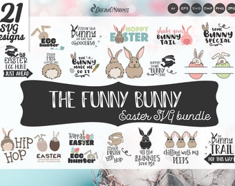 Easter SVG Bundle, Easter Bunny Svg Bundle, Easter Signs, Easter Quotes SVG Dxf, Svg Files for Cricut, Silhouette Cutting Machines