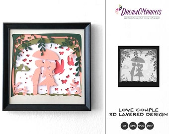 Love Couple 3D Layered Design | Valentine's Day 3D SVG