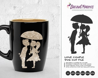 Love Couple SVG, Kissing Boy and Girl Svg Love Svg, Valentines Day Svg for Cricut, Silhouette Cutting Machines DOP171