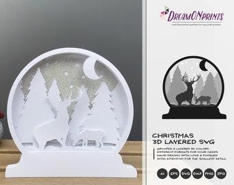 Snow Globe Christmas 3D Layered Design | Winter Multi Layer Design | Laser Cut Files