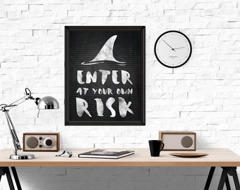 Shark Print, Enter at Your own Risk Wall Art, Chalkboard Printable Art, Chalk Print, Kids Room, INSTANT DOWNLOAD wp374