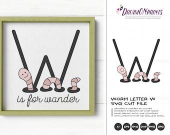 Worm SVG   Monogram Letter W SVG Cut File