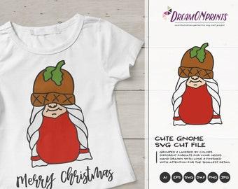 Cute Gnome Christmas SVG | Christmas Gnome Design | Gnome  Cut Files