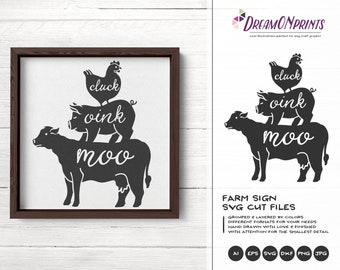Farm Animals Svg, Farm Sign Welcome to the Farm SVG, Stacked Animals, Farmhouse svg Sign Making Svg Files for Cutting and Printing DOP267