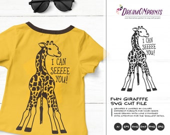 Giraffe SVG Funny Giraffes, Kids SVG, Cute Wild Svg Cut File, Nature, Animals Svg DXF Files for Cricut, Silhouette Cutting Machines DOP312