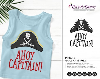 Ahoy Captain | Pirate SVG | Nautical SVG Vector