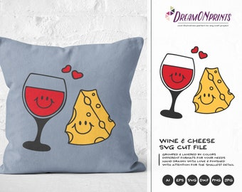 Wine and Cheese SVG, Love SVG Valentines Day SVG The Perfect Fit Svg Cut Files DOP078