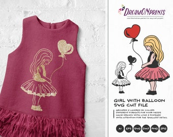 Girl Svg Balloon Svg, Girl with Balloon, Love Svg, Heart Svg, Valentines Day Svg for Cricut, Silhouette Cutting Machines DOP145