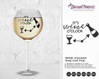 It's Wine O'clock SVG File, Wine Svg, Wine Lover SVG, Love SVG Valentine's Day Svg Files for Cricut, Silhouette Cutting Machines DOP150