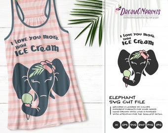 Elephant with Ice Cream SVG | Funny Summer SVG | Ice Cream Cut Files