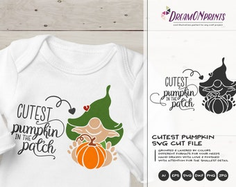 Cutest Pumpkin in the Patch SVG | Fall Quote SVG Design | Children Svg