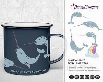 Narwhal SVG Cut Files, Unicorn SVG - Unicorn of the Sea  DOP101