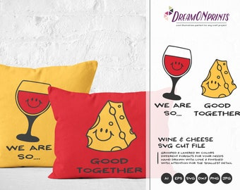 Wine and Cheese SVG, Love SVG Valentines Day SVG The Perfect Fit Svg Cut Files DOP079
