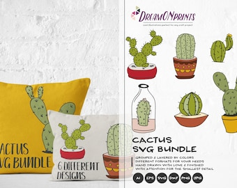 Cactus SVG Bundle, Cacti SVG Cut Files Svg, Succulent Cut Files Svg Cactus Dxf, Svg Files for Cricut, Silhouette Cutting Machines