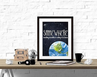 Planet Earth Print, Space Print, Galaxy Printable, Boys Room Decor, Chalkboard & Watercolor Art Print, Inspirational Quote, Kids Art WP364