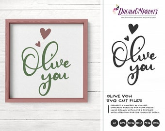 Olive You Svg, Food Pun Svg Kitchen Svg Love SVG Cut File, Apron Svg Designs, Kitchen SVG Cutting File, Cooking svg Cricut Explore DOP345