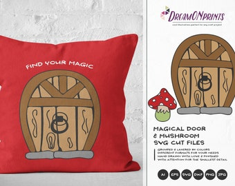 Magic Door SVG, Mushroom Svg Fairy Garden Svg Gnomes SVG, Magical SVG Garden Gnome Svg, Dxf for Cricut, Silhouette Cutting Machines DOP049