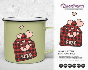 Love Letter SVG, Buffalo Plaid Svg, XOXO Svg, Hugs and Kisses SVg, Heart Svg, Married Svg for Cricut, Svg for Silhouette DOP158