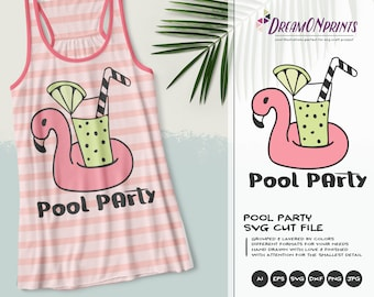 Flamingo SVG Pool Party | Funny Tropical Design