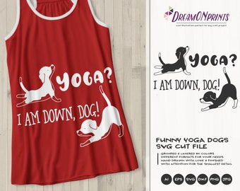 Funny Yoga Svg Dog SVG, I am Down Dog, Pets Svg Beagle, Animals Svg Cute Svg Cut File, DXF Files for Cricut or Silhouette DOP383