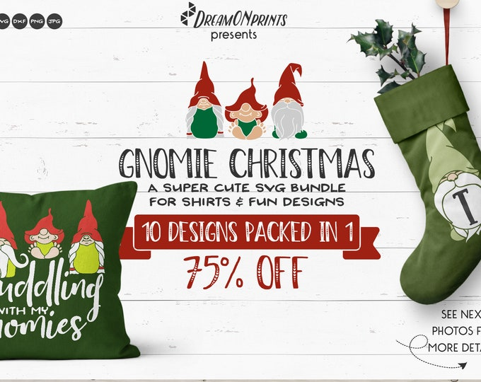 Featured listing image: Christmas SVG Bundle, Gnomes SVG Sale Svg files set, Fun Christmas SVG for Cricut, Happy Holidays Svg for Silhouette, Htv Svg