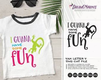 Fun Iguana SVG | Beach SVG | Summer SVG Cut Files