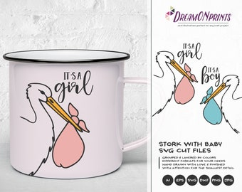 Stork Svg It's a Boy SVG, New Born SVG New Baby SVG, It's a Girl, Baby Announcement Svg, Dxf Png Eps, Svg for Silhouette, Cricut Svg DOP186