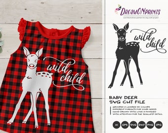 Baby Deer SVG Fawn Svg Cut Files, Kids SVG, Wild Child Svg, Nature, Animals Svg DXF Files for Cricut, Silhouette Cutting Machines DOP291