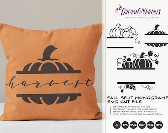 Fall Split Monogram SVG Pumpkin | Autumn Split Monogram Design§