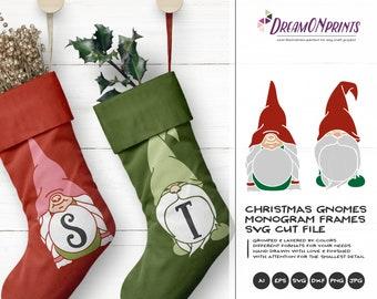 Gnome Monogram SVG | Christmas Monogram Frames | Funny Gnome Frames