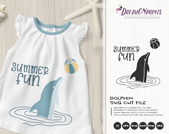 Summer Fun SVG Dolphin | Summer Shirt design | Dolphin SVG