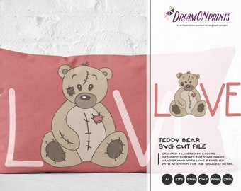 Teddy Bear SVG, Bear SVG Files, Baby and Kids Illustrations, Toys svg Stuffed Animals, Kids SVG Cutting Files DOP012