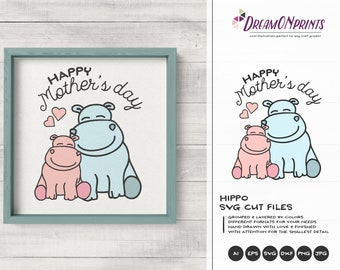 Hippo SVG | Mother & Baby SVG | Mother's Day Svg